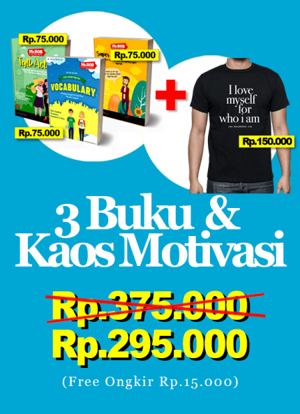Paket 3 Buku + Kaos Motivasi Mr.Bob Kampung Inggris - Ads 1 logo