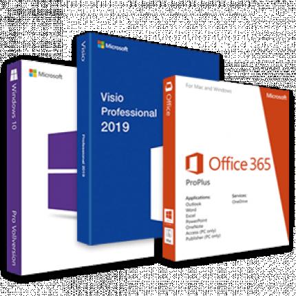 Visio 2019 + Windows 10 + Office 365 logo