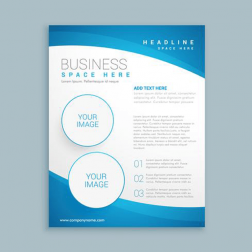 Desain brosur 1 sisi tanpa lipatan logo